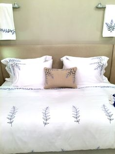 800 thread count Egyptian cotton bed sheets with our very own Fougere collection hand embroidered by Al Haramlek