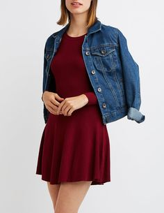 Ribbed Scoop Neck Skater Dress | Charlotte Russe