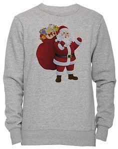 32da757317f38 Père Noël Unisexe Homme Femme Sweat-shirt Jersey Pull-over Gris Taille S  Unisex