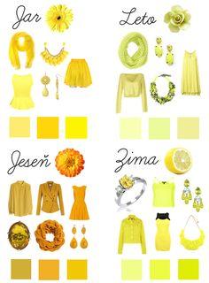 Jarná žltá - je teplá, čistá a žiarivá ako slnečné lúče;  Jesenná žltá - je teplá a tlmená, pripomína jesenné lístie a má v sebe prímes hnedej či oranžovej; Letná žltá - je chladná a tlmená, mierne zašedlá, či nazelenalá; Zimná žltá - je chladná a čistá, príkladom zimného odtieňa je citrónová žltá;