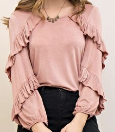 Pink long sleeve top with round neck. Small ruffles on the front of top going down to the arms. Lots of stretch to this top. Muslim Fashion, Modest Fashion, Hijab Fashion, Fashion Dresses, 80s Fashion, Mode Abaya, Mode Hijab, Blouse Styles, Blouse Designs