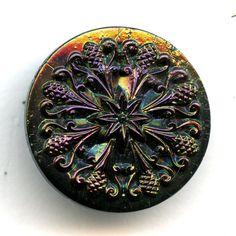 Collectors Victorian Antique Iridescent Black Glass Button SO SO PRETTY 15/16 inch size 7675