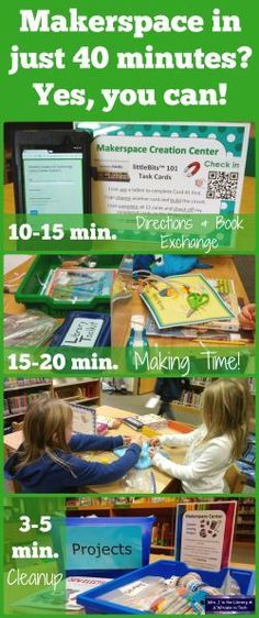 Makerspace Centers in 40 Minute Library Classes - Don't let a fixed library schedule or limited class time stop you! | Mrs. J in the Library @ A Wrinkle in Tech #makerspace #librarycenters #makered #library #MrsJintheLibrary