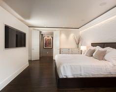 2014 Bedroom Trend -  floor,  lights under crown moulding,  TV on wall