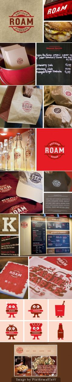 Who wants a roam burger for lunch packaging curated by Packaging Diva PD created… Restaurant Signage, Restaurant Identity, Restaurant Menu Design, Burger Restaurant, Burger Bar, Burger Branding, Food Branding, Food Packaging Design, Brand Packaging