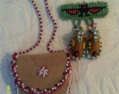 Lot of Two - Seed Bead Trading Post Items, Leather Necklace Medicine Pouch and Beaded Moccasin Brooch Pin, Southwestern Beaded Pin