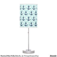 Nautical Mint Polka Dots And Navy Blue Anchors Desk Lamp