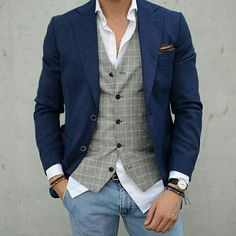 Grey vest with a navy blazer. Dressy yet casual. – [pin_pinter_full_name] Grey vest with a navy blazer. Dressy yet casual. Grey vest with a navy blazer. Mens Fashion Blazer, Suit Fashion, Leather Fashion, Mens Formal Vest, Waistcoat Men Casual, Mode Man, Men Style Tips, Male Style, Gentleman Style