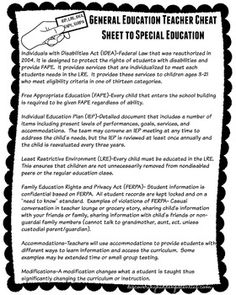 The purpose of this one page guide is to provide an overview to general education teachers about some different acronyms that are typically used in special education (FAPE, IEP, IDEA, LRE, FERPA).This would be a good addition to a professional development training for teachers about special education.