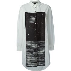 Marc By Marc Jacobs Galaxy Print Shirt Dress ($368) ❤ liked on Polyvore featuring dresses, tops, shirts, white, shirt dress, nebula dress, long shirt dress, space print dress and white dress