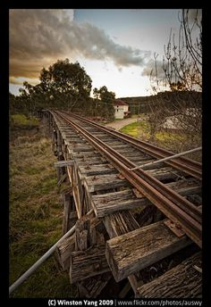 Abandoned Railroad by ~BluNova ~ Abandoned railway at Gundagai in rural New South Wales (near Sydney), Australia Abandoned Train, Abandoned Buildings, Abandoned Places, By Train, Train Tracks, Old Trains, Foto Art, Le Far West, Train Station
