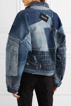 Shop on-sale Distressed patchwork denim jacket. Browse other discount designer Casual Jackets & more luxury fashion pieces at THE OUTNET Denim Jacket Sale, Demin Jacket, Denim Jacket Patches, Denim Jacket Fashion, Coloured Denim Jacket, Customised Denim Jacket, Denim Coat, Jacket Style, New Mode