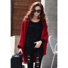 $6.42 Stylish Style Cardigans Dolman Sleeves Design Sweater For Women