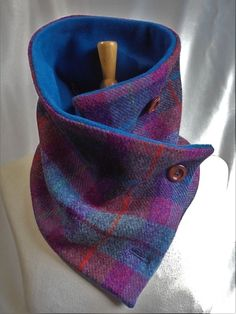 African Scarf, African Accessories, Crochet Shirt, Harris Tweed, Neck Wrap, Couture, Wool Scarf, Neck Warmer, Teal Blue