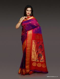 This Shakti Glowy Purple Paithani Silk Saree in a stylish color brings the simple zari work matched with timeless red pallu. This paithani silk saree pulls off a stylish Indian wear for those who want to give a western twist to their wear. Wear this to bring the style icon within you.