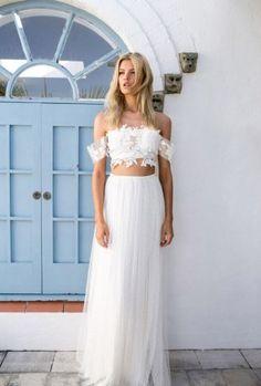 Ideias de vestidos de noiva cropped