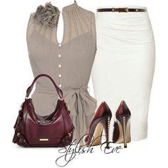 Love the pencil skirt & burgandy heels!