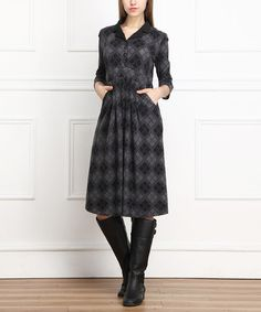 Take a look at this Charcoal & Black Plaid Shirt Dress on zulily today!