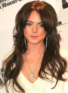 Lindsay Lohan Long Wavy Black Hair Cuts