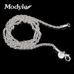 3mm Rope chain necklace,Wholesale lots Fashion jewelry Silver Plated jewelry necklaces & pendants