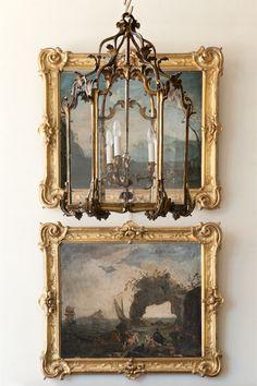 We love, love, love antique gilt frames and antique lanterns.