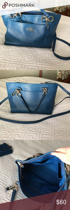 Coach purse Royal blue mini coach bucket hand purse with body strap.  Lightly used. Coach Bags Mini Bags