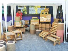 Buenos Aires design Studio Pomada makes biodegradable furniture out of recycled cardboard tubes scrap.