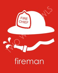 Fireman Hat Nursery Art Print in Red. Great for your little future fire fighter…