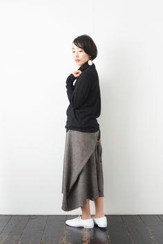 SARAXJIJI ソフトウール フォールドスカート(2color) - poooL (online shop) Sewing Tutorials, Sewing Projects, Refashion, Diy Clothes, Normcore, Boho, Knitting, My Style, Womens Fashion