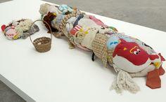 Mike Kelley   Frankenstein 1989  Sewn, stuffed animals, basket with spools of thread, pincushion, felt. In 3  parts.