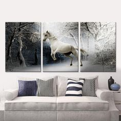 3 Pieces Canvas Art  White Horses 2 Designs and Many Sizes to Choose From FREE Shipping
