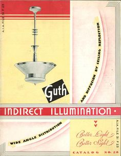 Guth Indirect Illumination, c. 1935.  From the Association for Preservation Technology (APT) - Building Technology Heritage Library, an online archive of period architectural trade catalogs.