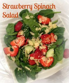 Welcome Spring, with this strawberry, spinach salad! Simple, fresh & delicious!