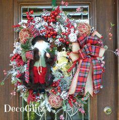 FLOCKED Christmas Wreath Featuring SANTA in a TARTAN by decoglitz