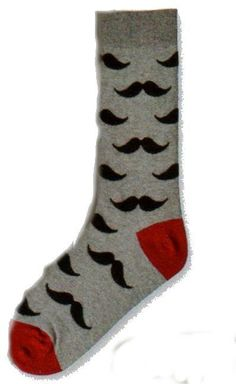Currently this sock comes in Charcoal Gray with Burgundy Heel and Toe. A Classic Mustache appears on this sock from the Bottom of the Cuff to the beginning of the Toe. The Mustache is Black and twiste
