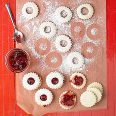 Tangy raspberry preserves sandwiched between sweet vanilla sugar cookies create a heavenly dessert that looks gorgeous and tastes delicious: http://www.bhg.com/christmas/cookies/christmas-sugar-cookies/?socsrc=bhgpin102414christmassugarcookies&page=13