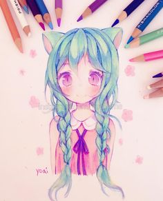 """25k Likes, 90 Comments - Yoai (Anny) ( ´ ▽ ` )ノ (@yoaihime) on Instagram: """"Practicing using pencil crayon/coloured pencil~ I think I haven't used pencil crayon in over a year…"""""""