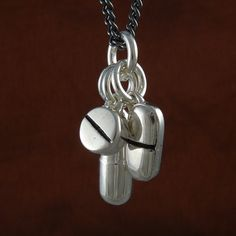 Pills Necklace Antique Silver Pill Pendant Necklace by LostApostle, $55.00