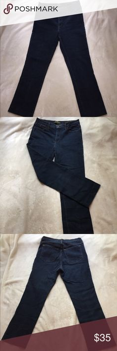 """NYDJ SIZE 10 👖 Jeans Size 10 Dark Wash.  Inseam 29""""(Have been altered) Waist 15"""" (Flat Lay). Tummy Tuck..  96% Cotton 4% Spandex.  Sorry no modeling or trades.  Comes from a smoke free home'. 😀❤️✌️. NYDJ Jeans"""