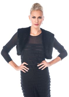 Add polish and sophistication to your special occasions with this fabulous knitted mink shrug! Devastatingly feminine, this mink boldero adds glamour to your Winter Poncho, Mink Jacket, Poncho Coat, Fashion Catalogue, Black Knit, Silk Top, Cashmere Sweaters, Feminine, Street Style
