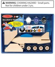 Melissa and Doug Kids Toy, Decorate-Your-Own Wooden Jet Plane - Multi