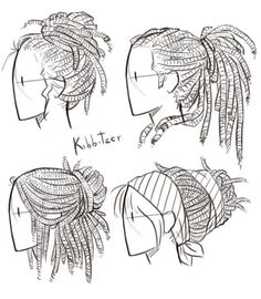Drawing Anatomy Reference Dreadlocks Reference Sheet by Kibbitzer on DeviantArt - Drawing Sketches, Art Sketches, Art Drawings, Drawing Art, Figure Drawing, Braid Drawing, Sketching, Drawing Animals, Drawing Poses
