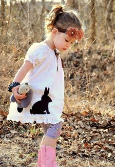 My Whimsy Girl Vintage Inspired Natural Cotton Peasant Dress with Chocolate Bunny for Easter, by mywhimsygirl, $39.99