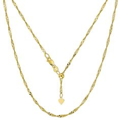 14K Yellow Gold Adjustable Singapore Link Chain - Width 1.1mm - Lenght 22 Inch - JewelryAffairs  - 1