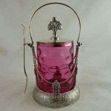 Antique Victorian Cranberry Glass Pickle Castor Silver Plate