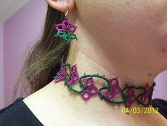 tatted choker set tatted bracelet lace choker lace by MamaTats, $40.00