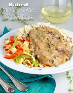 Baked Mushroom Pork Chops | Easy and delicious baked pork chops that are perfect for entertaining or family dinner!  It's one of my husband's favorite meals!