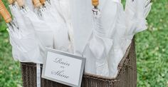 Outdoor wedding? Be prepared for summer showers and if you anticipate hot weather, suggest personalized parasols as favors