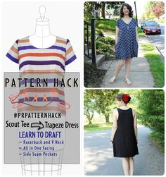 PatternReview Blog > Pattern Hack - A Trapeze Dress Two Ways Shows an all in one facing drafting too!