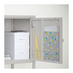 IKEA - LIXHULT, Cabinet, , Helps you keep track of small items like chargers, keys and wallets, or more bulky items like handbags and toys. It all depends on which of the 3 cabinet sizes you choose.Keep track of important papers, letters and newspapers by sorting them on the inside of the cabinet door.You can choose to install the door to the right or left, according to what fits the space best.The cabinet can be used either with the included legs or be placed on the floor.